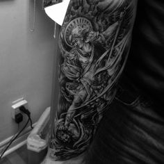 Instagram media jtattoos - St. Michael Archangel #tattoo on the forearm I did today #addicted #tattoos