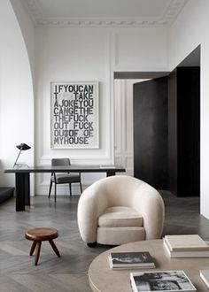 Christopher Wool  Art in a fab Parisian apartment by John Dirands