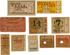 1920's-1930's Ticket and Press Pass Collection