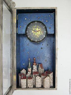 "Часы для дома ручной работы. Ярмарка Мастеров - ручная работа Часы ""Ночь"". Handmade."