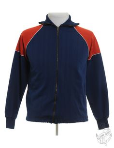 Vintage Clothing | Vintage Track Jacket Classic Navy With Contrasting Panels