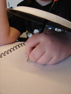 Blind contour drawing art lesson