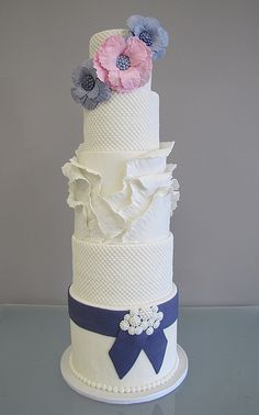 Ruffle Wedding Cake by confectioneiress, via Flickr