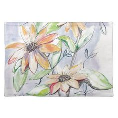 Sunflower Cloth Placemat - sunflowers sunflower gifts floral flowers cyo gift idea unique