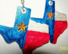 Deep In The Heart Of Texas Canvas Earrings by InspriationWorkshop, $12.00