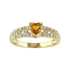 Yellow Sapphire & Diamond Accent 10k Gold Heart Ring, Women's, Size: