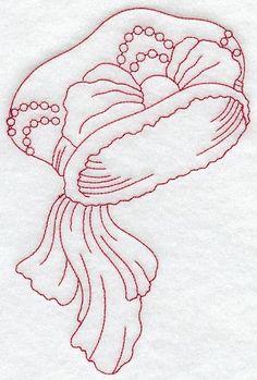 Victorian Hat 3 (Redwork) design (C2695) from www.Emblibrary.com
