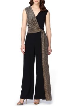 Free shipping and returns on Tahari Metallic Faux Wrap Jumpsuit at Nordstrom.com. Get ready for every RSVP in this chic jumpsuit designed with light-reflecting fibers in the faux-wrap overlay and a trailing sash that enhances dramatic exits.
