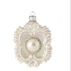 "3.25"" Pastel Dreams Antique White Large Pearl Bead and Rhinestone Glass Medallion Christmas Ornament"