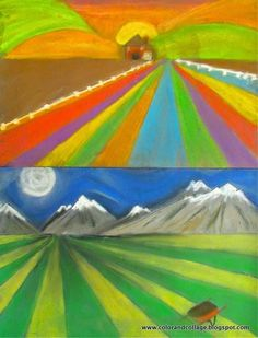 Color, collage, and much more: Farmland landscapes using perspective Intro to perspective for 3rd or 4th grade