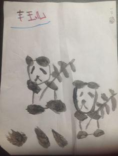 Cute pandas painted by Vee, 6 years old (Art My Kid Made) #kidart #animals #panda #paint