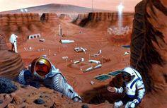 Mars base illustration.  Moon colony first?