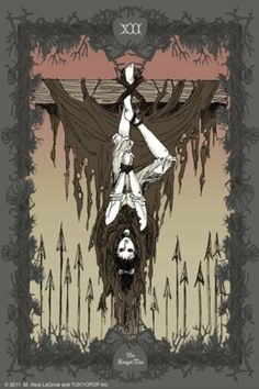 Bizenghast Tarot Cards by M. Alice Legrow. The Hanged Man.