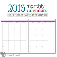 Half-Size 2016 Monthly Calendar- This half size monthly calender features one…