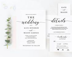 Printable Wedding Invitation Template, Wedding Invitation Set, DIY Wedding Cards, Download, Modern Calligraphy, Rustic Wedding #SPP007iiwis