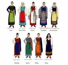 """""""Finnish garb - Link goes to pdf of """"VIKING AGE FINLAND. Study and Recreation of the Eura Dress"""" by Oonagh Bhan from Kingdom of the West"""" (quote) Link doesn't work anymore Viking Garb, Viking Reenactment, Viking Dress, Medieval Costume, Norse Clothing, Medieval Clothing, Viking Life, Viking Woman, Iron Age"""