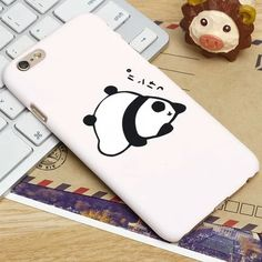 Cute Lovely Kawaii Japanese Words Panda Frosted Case Coque for iPhone 5 5S 6 6S Plus Hard Case Cover 5 5s Capa 6 6s plus Fundas