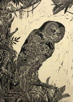 Arnaud Rochard, Histoires Naturelles II, gravure sur bois sur papier Zerkall…