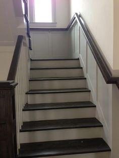 Open stairwell upstairs.  Double handrails.  Landing to break up stair run.  Window at landing.