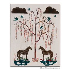 Fine art reproductionof original paper collage inspired by grandmother's Southern farmhouse and featuring willow tree, swallow birds, clouds, swans and horses.