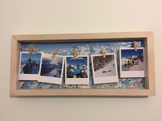 Repurposed a frame we found in a charity shop with a piste map from our first ski trip together and filled it with Polaroid style photos from the holiday! Love a simple but effective upcycle. #skiing #photoframe #diyphotoframe #upcycle