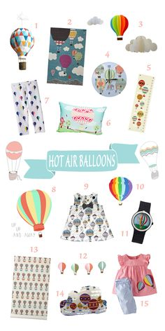 hot air balloon theme for a nursery - I wish I could find the blog lost that goes with this adorable compilation.