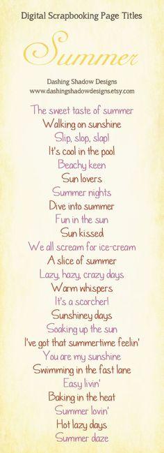 Summer scrapbook phrases