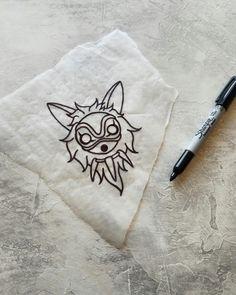 process mononoke mask tattoo flash sketch design by nico di pisarro