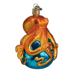 Old World Christmas Octopus Glass Blown Ornament ** You can get additional details at the image link.