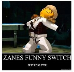 """The first thought that popped into my mind when I saw this image of Zane striking a pose: """"what does the fox say? Ninjago Memes, Lego Ninjago, Ninjago Cole, Good Poses, Lego Movie, Best Shows Ever, Legos, Favorite Tv Shows, Fangirl"""