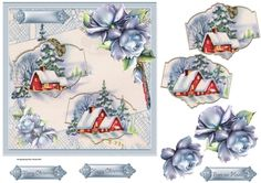 Winter scene is a 7x7 card with a vintage Christmas and rose decoupage with sentiment tags