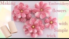 Como hacer flores con un pequeño truco Embroidery Making flowers with simple trick, hand embroidery with simple hack Crochet Puff Flower, Crochet Flower Patterns, Crochet Flowers, Embroidery Designs, Ribbon Embroidery, Embroidery Stitches, Yarn Flowers, Diy Flowers, Simple Flowers