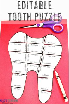 This EDITABLE tooth puzzle is great for Dental Health Month activities in February or anytime of year for a science unit on teeth. Create your own math, literacy, language arts, or ANY other topic game. Hands-on, engaging, and FUN. Click to see how to use these with 1st, 2nd, 3rd, 4th, 5th, 6th, 7th, or 8th grade elementary or middle school students.  #DentalHealthMonth #Teeth #Tooth #Math #Spanish #French #German #ELA #Reading #Grammar 5th Grade Classroom, School Classroom, Dental Health Month, Health Unit, Human Body Unit, Basic Math, Science Education, Physical Education, Special Education Teacher