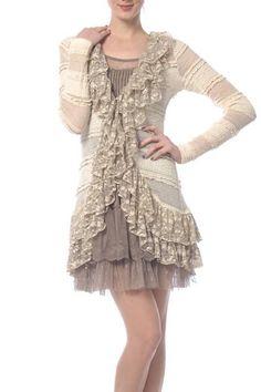 NWT Ryu Boho Gypsy Mod cloth Vintage Retro Ruffle Grand Cardigan Size Sm-Large #Ryu #Cardigan Mori Girl Fashion, Cute Fashion, Fashion Looks, Fashion Outfits, Modern Fashion, Classy Outfits, Beautiful Outfits, Vintage Outfits, Vintage Fashion