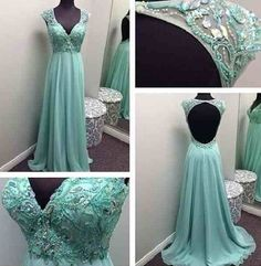 Exquisites Turquoise prom dress Deep v neck open back crystal beaded  long chiffon prom gown party dress ED1405