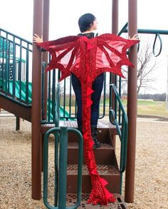 Dragon Wings Costume Super Long Tail w/ Awesome Shiny Scale Design Ages 4 to Adult Red Things red color scale Costume Feu, Shrek Costume, Hallowen Costume, Diy Costumes, Dragon Halloween Costume, Costume Wings, Costumes Couture, Costume Ideas, Color Scale