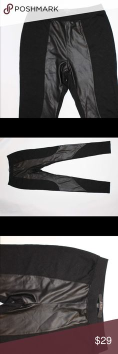 NEVER WORN Guess leggings with pleather detail Black leggings with pleather detailing in front. Never worn! Slight demarcation from being stored badly (see last photo) but not noticeable when worn. Run a bit small Guess Pants Leggings