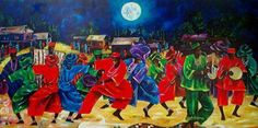 "African Art, African Dance Painting, Moon Dance, Black Art"" African Art, African Dance Painting, Moon Dance, chidi okoye, Black Art,"