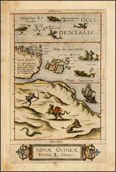 illustration of a dragon being hunted on map - - - New Guinea Map