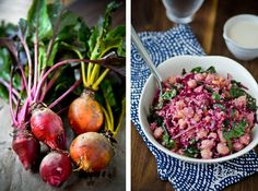 Tahini quinoa bowl with beets, kale and chickpeas