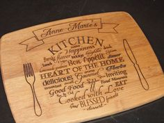 Bamboo Cutting Board, Personalized Engraved Kitchen Plate Custom Cutting Board: Wedding, Housewarming, Christmas Gift or Anniversary Gift
