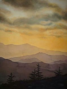 Watercolor landscape mountains evening