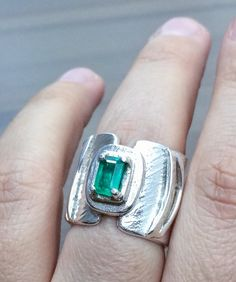 Emerald Ring.Natural Emerald Jewelry Made in Your Size/ Fine Jewelry. Argentium Silver Ring Design. Sterling Silver Ring. Statement Ring.  The X Ring.