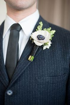 Anemone boutonniere | Photo by Mikkel Paige | Floral design by Flowers by Ivona