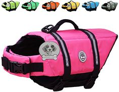 Dog Lifejackets - Vivaglory Dog Life Jacket Size Adjustable Dog Lifesaver Safety Reflective Vest Pet Life Preserver Pink Extra Large ** Check out this great product. (This is an Amazon affiliate link)