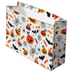Cute Halloween Patterns Large Gift Bag - autumn gifts templates diy customize