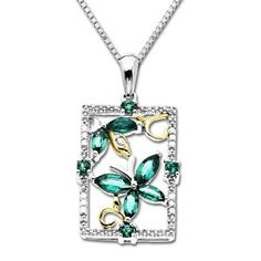 "XPY 14K Yellow Gold and Sterling Silver Emerald Butterfly Pendant, 18"" (Jewelry) http://www.amazon.com/dp/B005Q150G2/?tag=mnnean-20 B005Q150G2"