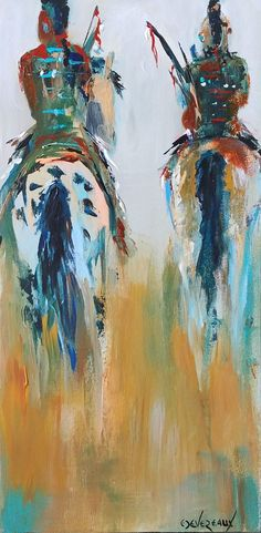 'Welcoming Party' original acrylic native american painting by artist Cher Devereaux