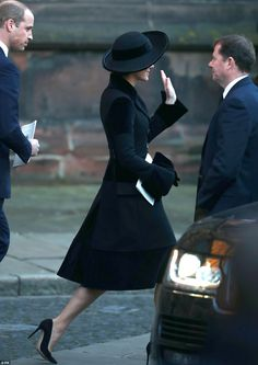 The Duchess of Cambridge looked elegant in all-black as she waved to well-wishers on her way out of the cathedral
