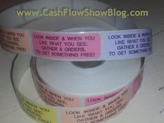 """Put these Stickers on the outside of every #HomeParty plan catalog:  """"If you like what you see and your wallet says no.... gather 6 orders and call it a show!"""" Use them for incentives or awards and front and back of every catalog you hand out! http://www.createacashflowshow.com/"""